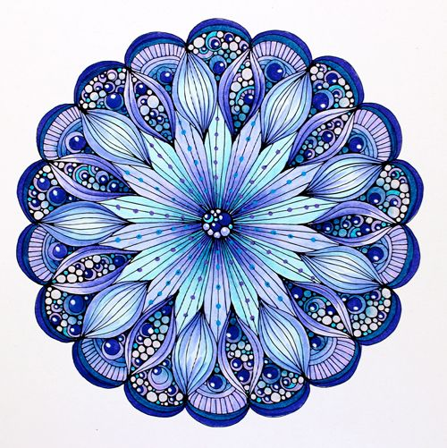 """© Marie Browning, CZT. Design from Valentina Harper's """"Creative Coloring Mandalas"""". Colored with the Dual Brush Markers, and accented with Gel Pens."""