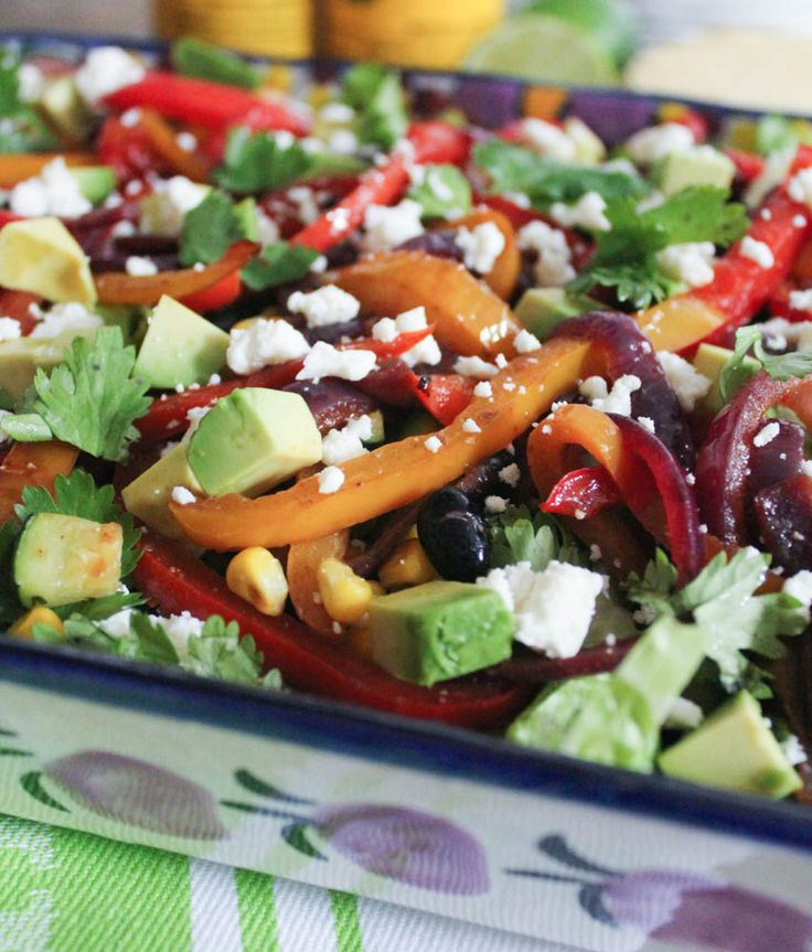 Vegetable Fajita Salad with Chipotle Vinaigrette. A fresh, flavorful and nutritious meal or side for all of life's fiestas! #vegetarian #glutenfree #veganfriendly