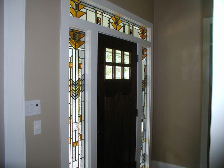Frank Lloyd Wright style entryway windows