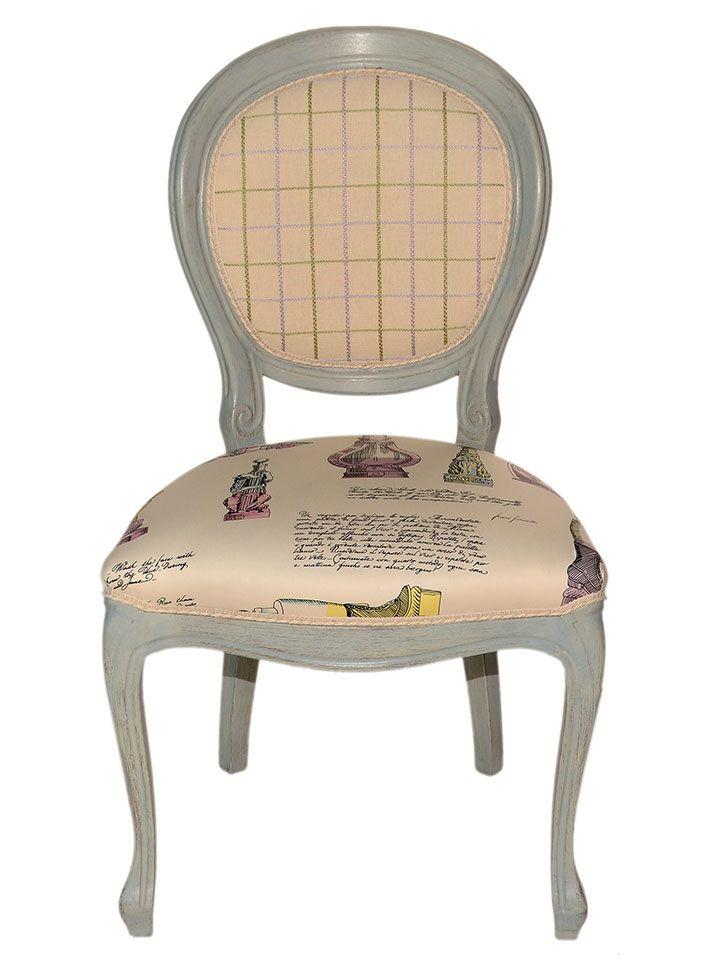 #Poltroncina in #legno di #faggio color grigio anticato, rivestita in tessuto 100% #cotone rasato, modello Fornasetti. Imbottitura con gomma indeformabile.Lo schienale presenta un #disegnogeometrico a scacchi verde su fondo rosa che si abbina ad una fantasia eclettica formata da immagini e testi, in analoghe tonalità, nella #seduta. #Artigiano: Tappezzeria Ravaglioli http://www.ductilia.com/shop/poltroncina-bijoux/