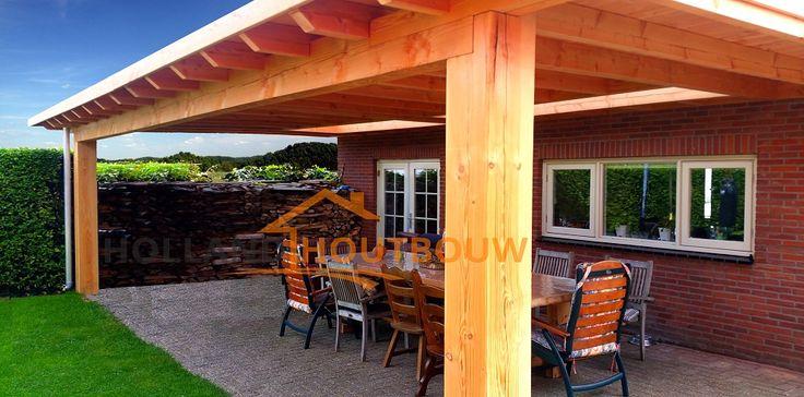 robuuste landelijke veranda terrasoverkapping van douglas eiken hout Afferden