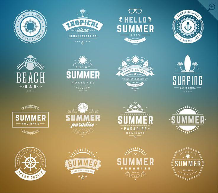 16 Summer holidays badges & labels by Vasya Kobelev on @creativemarket
