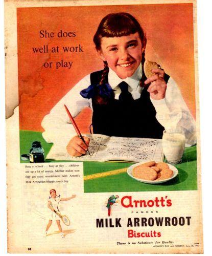 ARNOTTS BISCUITS MILK ARROWROOT- Vintage advertisement 1962 original