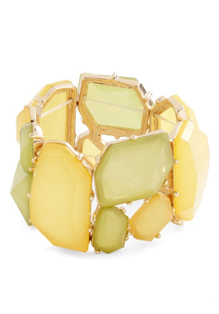 Found Looking Fabulous Bracelet - Yellow, Green, Party, Statement, Solid: Bracelets 25, Gorgeous Bracelets, Vintage Bracelets, Fabulous Bracelets, Pretty Things, Fashion Accessories, Colors Accessories, Modcloth Com, Bracelets 24 99