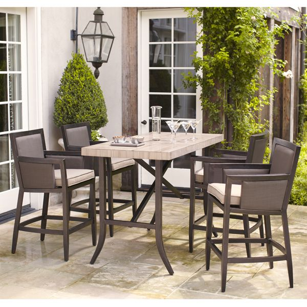 Brown Jordan Greystone Patio Dining Bar Table The Home Depot