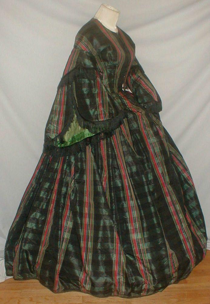 Elegant 1862 Plaid Silk Pagoda Sleeve Dress w/ Provenance