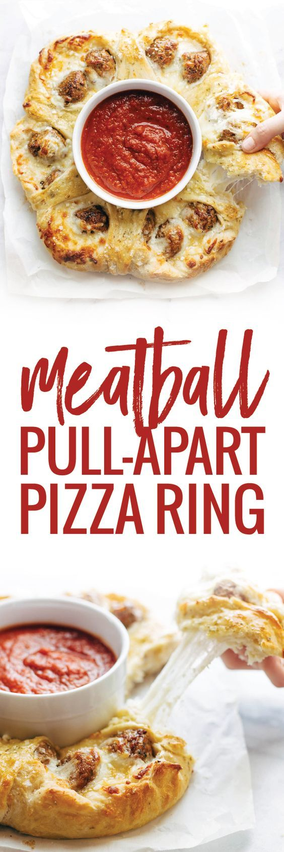 Cheesy Meatball Pull-Apart Pizza Ring! 5 ingredients - SO YUMMY and so fun for parties! | pinchofyum.com