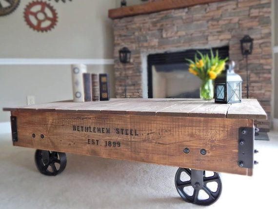Factory Cart Coffee Table Industrial Style Coffee By TheIronSilo, $350.00