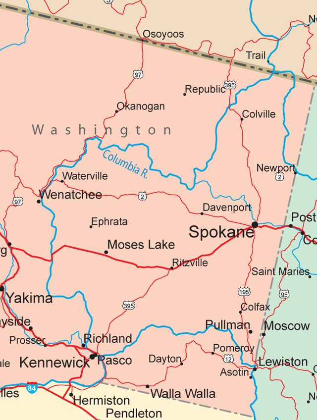 Ideas Map Of Northeast Wa State On Emergingartspdxcom - Map eastern washington