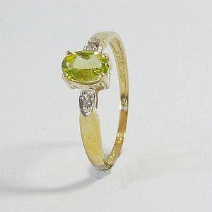 0.45CT. Earth Mined Green Peridot in Solid 9K Yellow Gold  2 Diamonds Ring Size:O -7.25    RI389