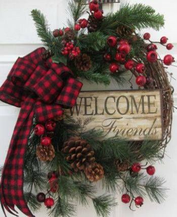 Winter holiday wreath / berries / pin cones / welcome friends sign