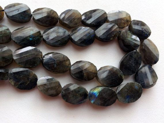Labradorite Fancy Cut Faceted Tumbles Blue Fire by gemsforjewels