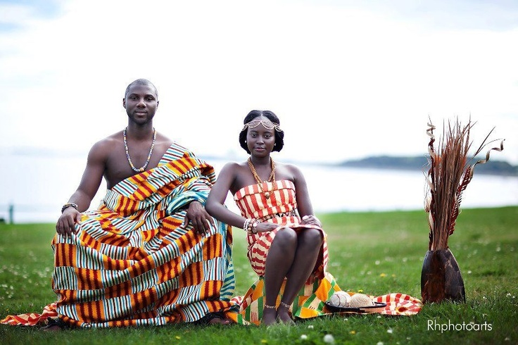 Ghanaian couple traditional african wedding attire
