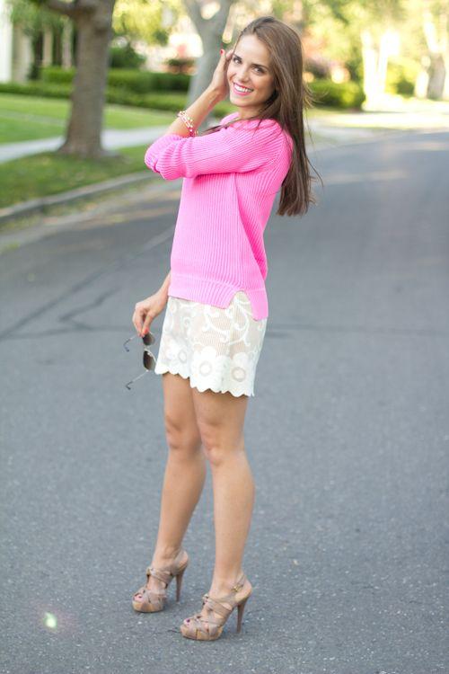 Love the Neon Pink!   Dress Free People, Sweater J. Crew, Aviators Ray Ban, Heels Miu Miu, Bracelets Ettika c/o, Gift