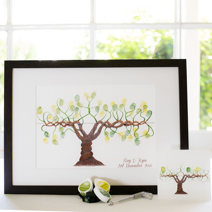 Winery vine guest book for Wedding, funeral or other celebration. Illustrated by Ray Carter - The Fingerprint Tree® Made-to-order, ships worldwide. The Fingerprint Tree®, bespoke gifts you'll treasure!