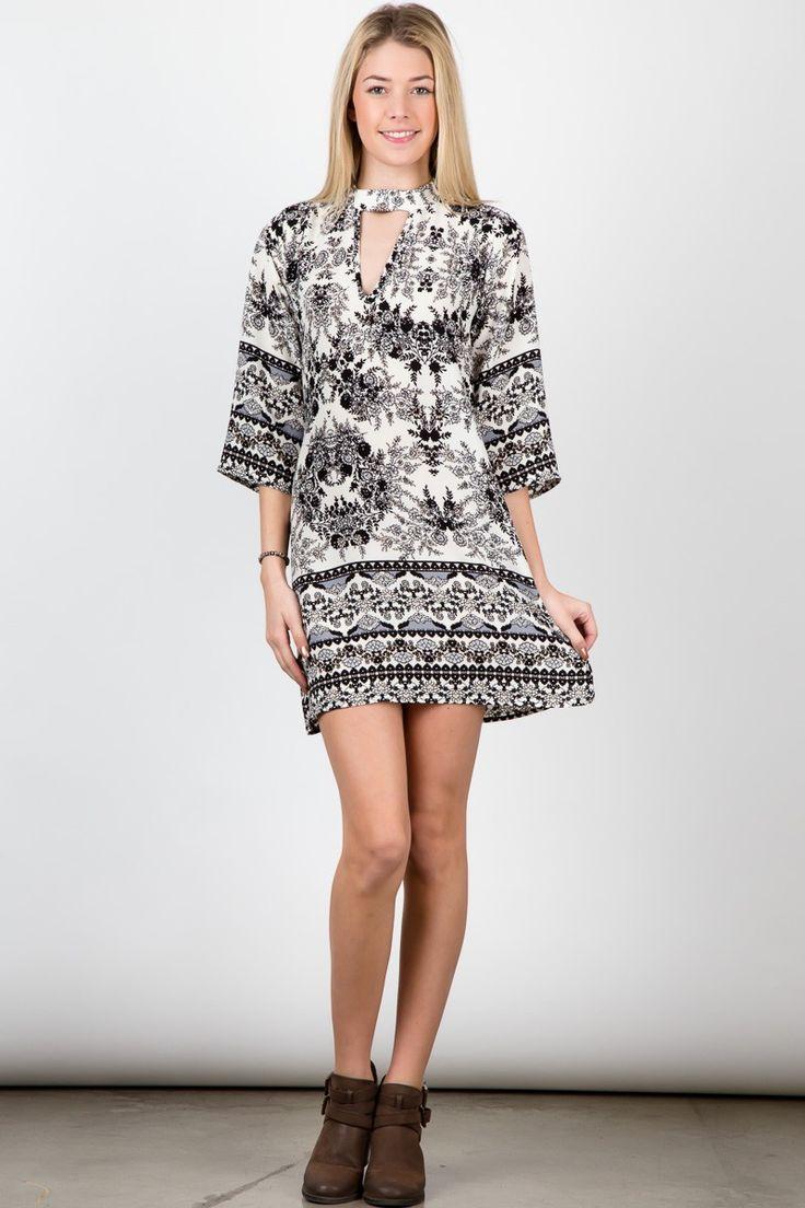 Black flower & plant patterned neck strap half sleeve thigh high dress! #streetfashion #trend #outfit #fashionweek #SleevelessTop #Jacket #USA #streetwear #streetstyle #fashionshow #beauty