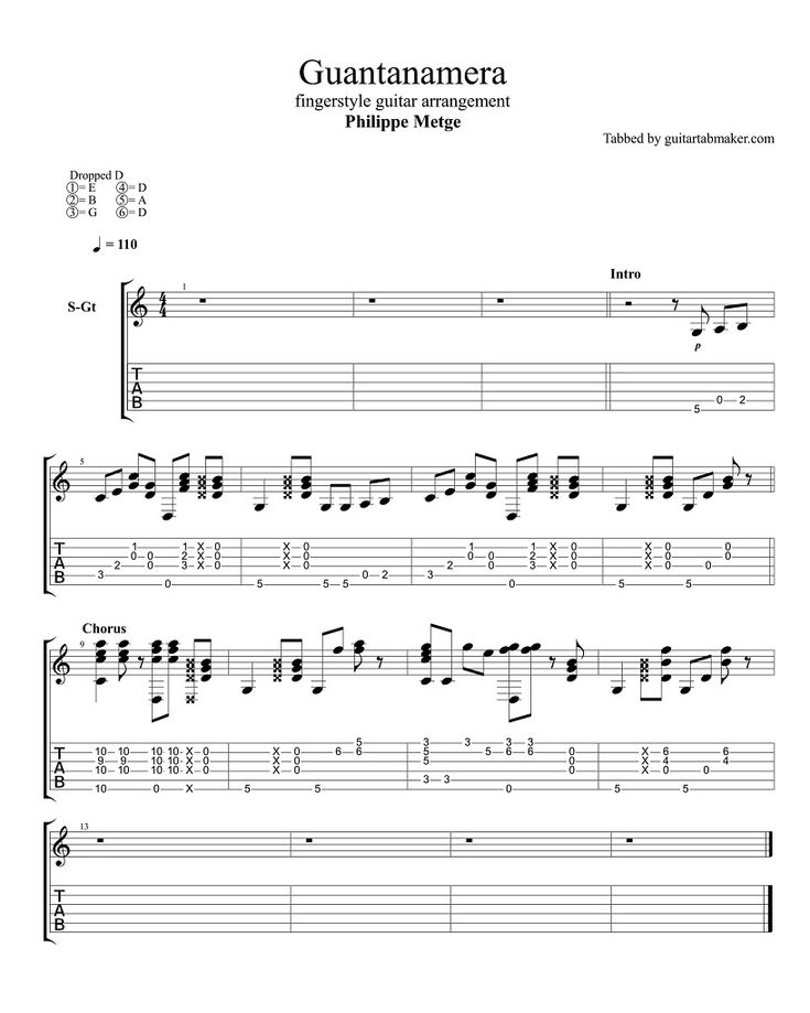 Guantanamera fingerstyle guitar TAB - fingerstyle guitar cover by Philippe Metge - Guitar Pro TAB