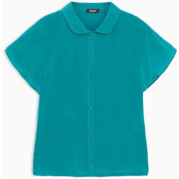 MAX&Co. Silk and jersey shirt ($115) ❤ liked on Polyvore featuring tops, emerald green, blue top, blue jersey, jersey top, shirt jersey and short tops