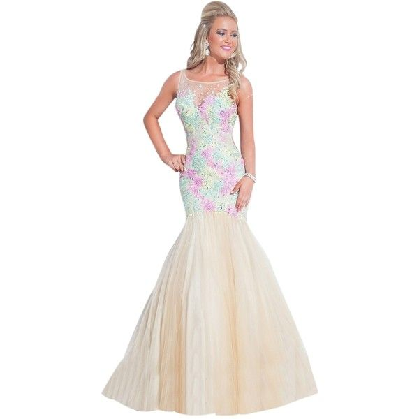 Pre-owned Rachel Allan Nude/yellow/pink 6850 Dress ($305) ❤ liked on Polyvore featuring dresses, yellow floral dress, pink sparkly dress, nude dresses, sparkly cocktail dresses and white sparkly dress