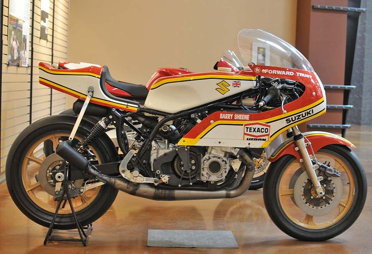 """Barry Sheene's '76 Daytona TR750. """"the sound from a two-stroke triple is the be all and end all. Sirens calling you in to perform endless sessions of cylinder honing..."""" plus one of the best race bike paint jobs of all time"""