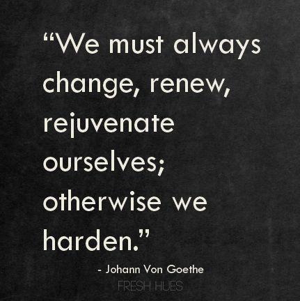 We must always change, renew, rejuvenate ourselves; otherwise we harden. Johann Van Goethe