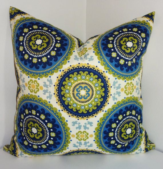 FALL Is COMING SALE Outdoor Pillow Royal Blue Green Medallion Suzani Print  Cushion Cover Porch Decorative Pillow Choose Size