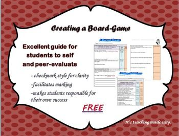 FREE evaluation for creating a board game. This rubric was created to help students understand exactly what is expected of them for this evaluation. It is also an excellent tool to assess students' progress and final product. This self assessment rubric is part of bundle as well.