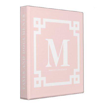 Blush Pink Modern Greek Key Border Monogram Binder - monogram gifts unique design style monogrammed diy cyo customize