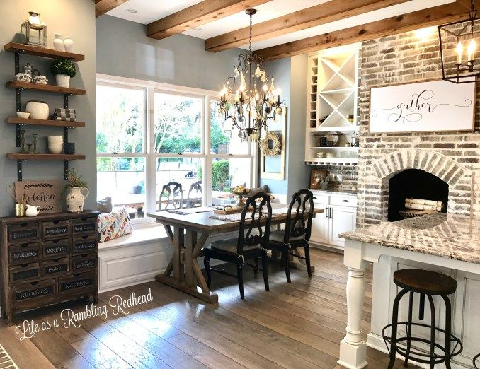 "What do I not love?!? The ""Gather"" sign, the fireplace, the chandelier, the colors, the wall shelves/hutch...this is all beautiful!!"