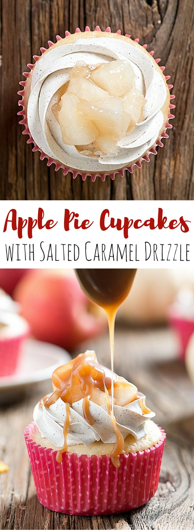 Apple Pie Cupcakes with Salted Caramel. A vanilla bean cupcake topped with cinnamon swiss meringue icing, apple pie filling and salted caramel drizzle! ~ thislilpiglet.net