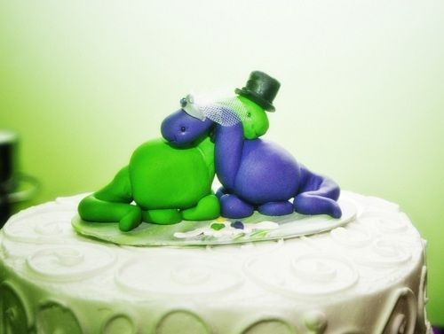 dinosaur cake topper. Something only Chris and i would understand. Rawr!