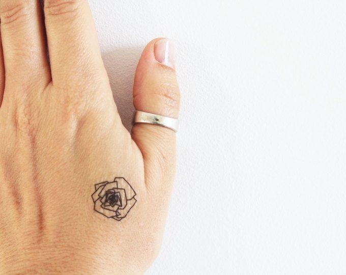6 tijdelijke tatoeages van een geometrische roos / tijdelijke tattoo roze origami / tattoo geometrische bloem / tattoo trend roze