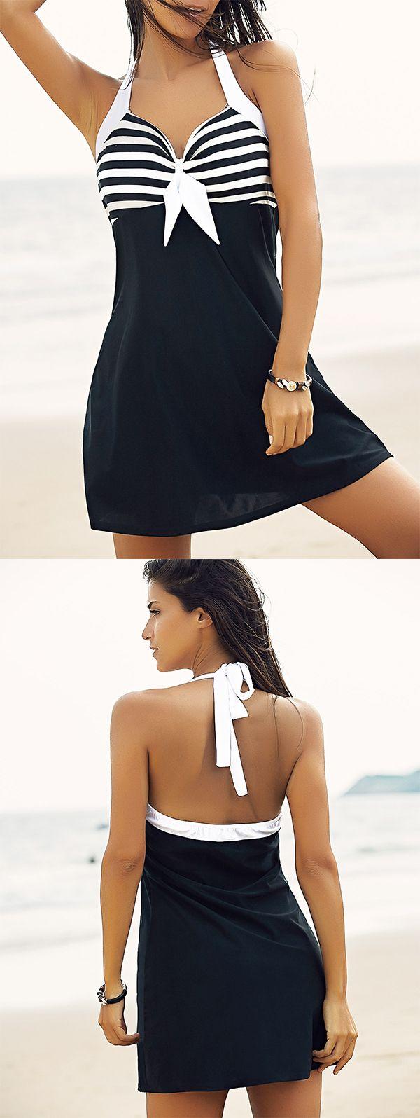 Halter One-Piece Striped Multi Convertible Way Women's Swimwear