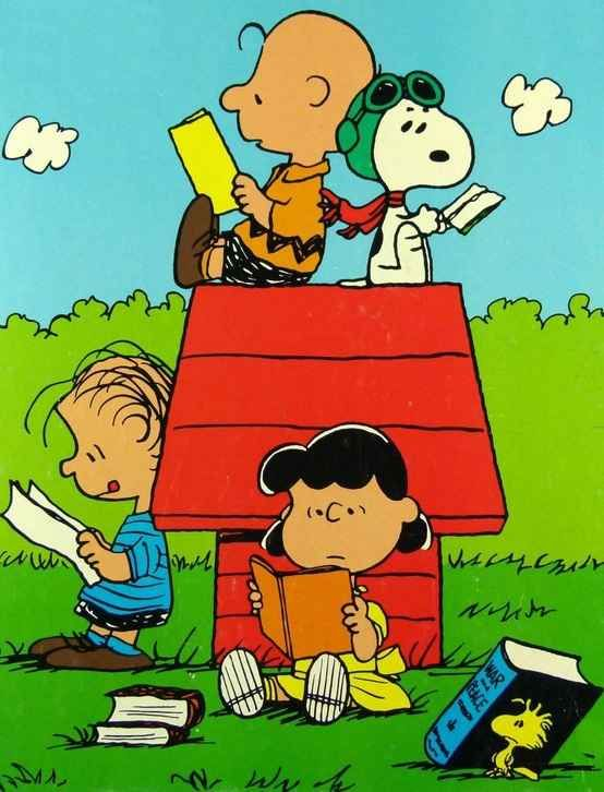 The Peanuts Gang catching up on their reading! Will someone please help poor Woodstock though…: