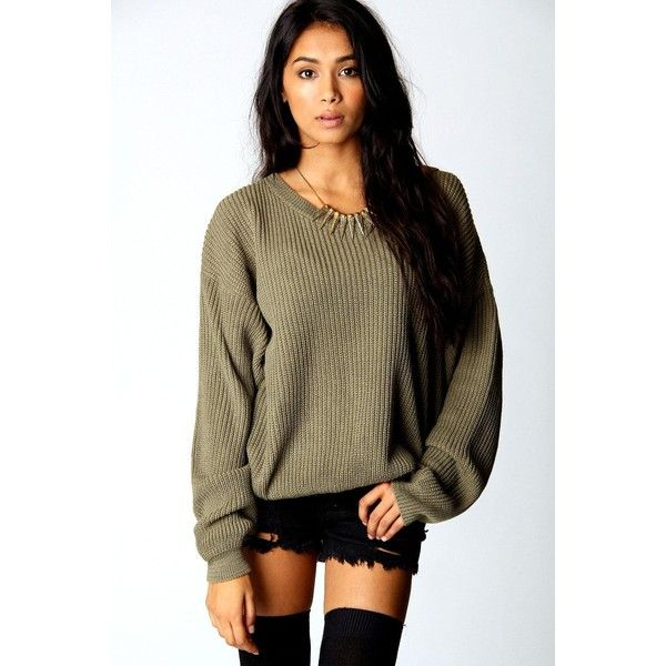 Boohoo Katherine Oversized Jumper ($10) ❤ liked on Polyvore featuring tops, sweaters, khaki, brown sweater, party jumpers, turtle neck sweater, chunky turtleneck sweater and sequin tops