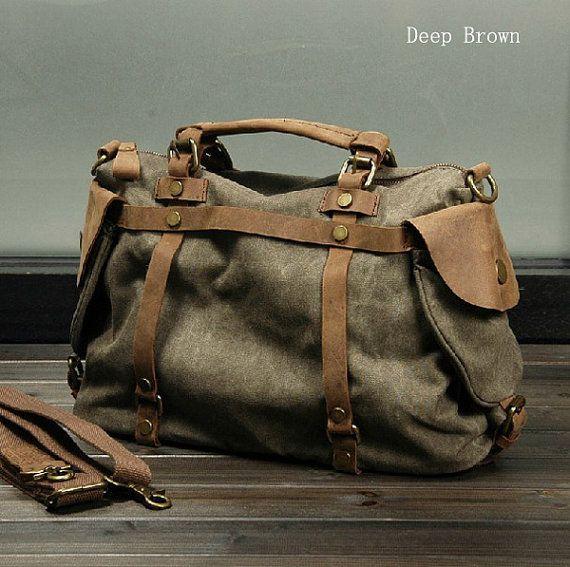 Tela & Leather Bag, borsa Casual, Crossbody, Satchel, borsa grande, borsa di tela per gli uomini