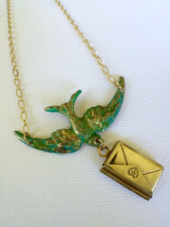 Bird Necklace with Envelope Bird Locket by PERCIVALandHUDSON