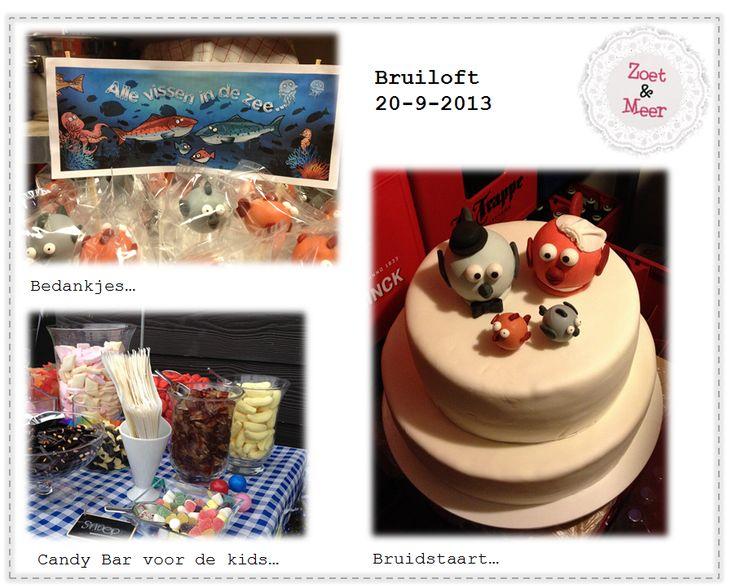 Bruidstaart, CandyBar & Cakepop - bedankjes... Thema vis / zalm