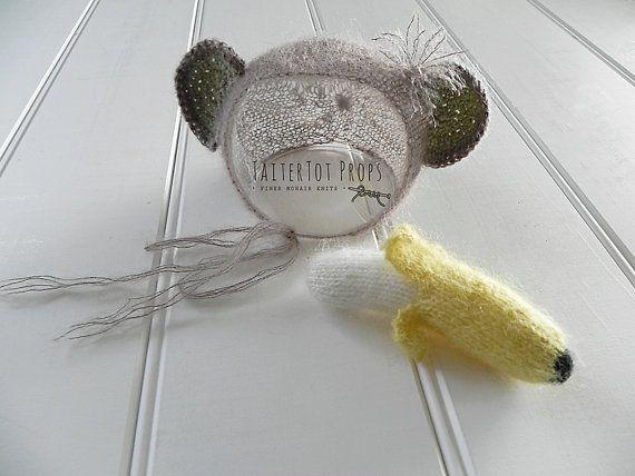Photo Prop Monkey  Bonnet & Banana Set by TaiterTotProps on Etsy