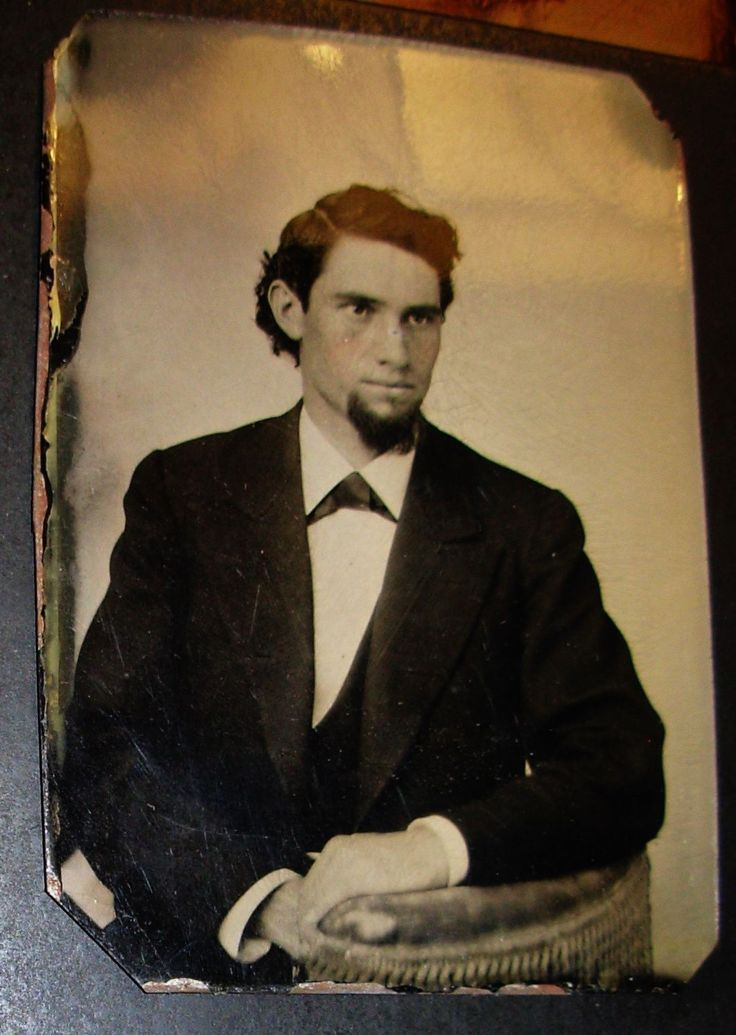 TINTYPE PHOTO PORTRAIT OF HANDSOME DAPPER SEXY SEATED YOUNG MAN WITH CHIN BEARD   eBay