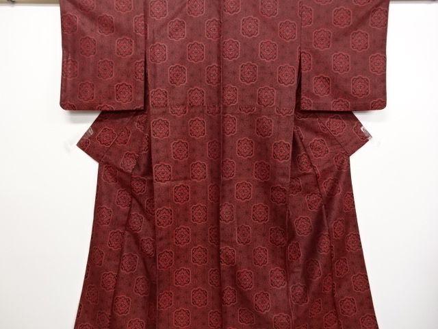 リサイクル 麻の葉に華紋織り出し単衣着物・道行コートアンサンブル