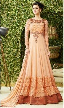 Orange Color Georgette Crystals Stones Work Designer Gowns | FH504276959 #heenastyle , #boutique , #pakistani, #salwar , #kameez , #suit , #dresses , #styles , #fashion , #clothing , #henna , #designs , #mehndi , #more , @heenastyle , #party , #online , #abaya