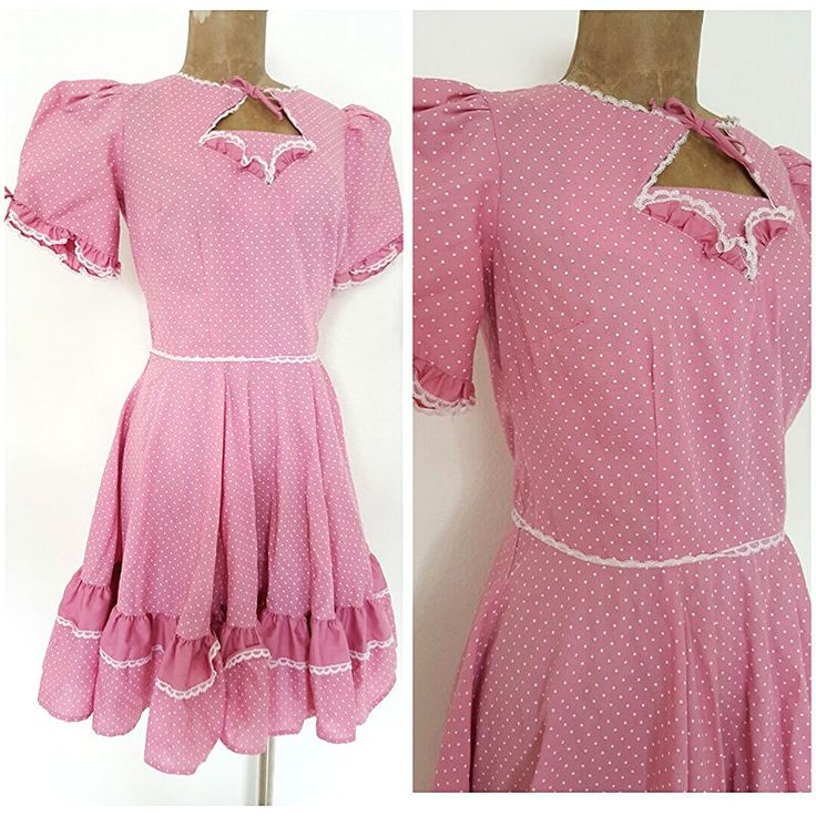 Vintage 70's Festival Dress Size Medium Polka Dot Ruffle Full Swing Pink Party #PartnersPlease #SquareDance #Festive