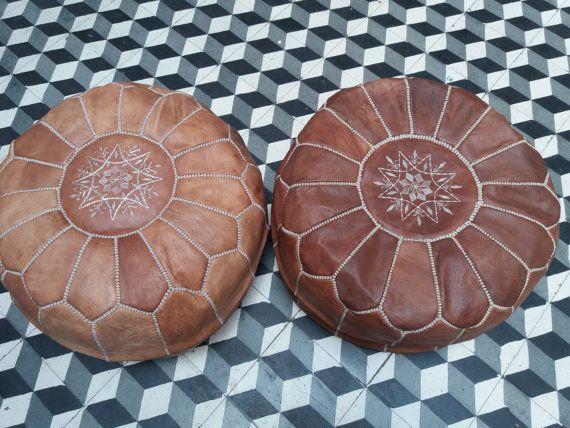 Conjunto de 2 puf Marroquí PUF Puf de piel Puf por MarrakeshStors