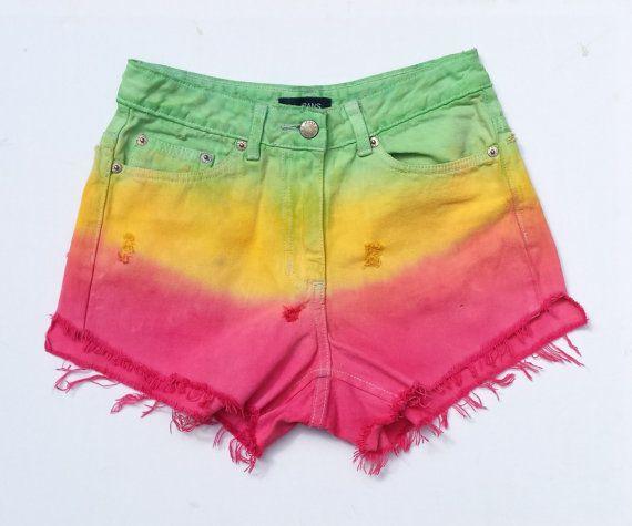 Rasta High Waisted Denim Cut Off Shorts Ripped Dip Dye Size 8 Festival Stoner Hippie #trending #abidashery