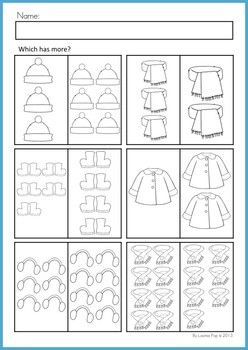 Math Worksheets & Activities - Winter (Beginning Skills). 43 pages. A page from the unit: Which has more