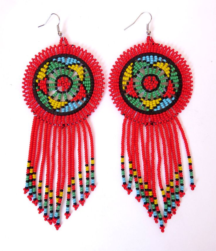 African Zulu beaded earrings - Dreamcatchers - Red (Large) by GoneRuralSafariCurio on Etsy