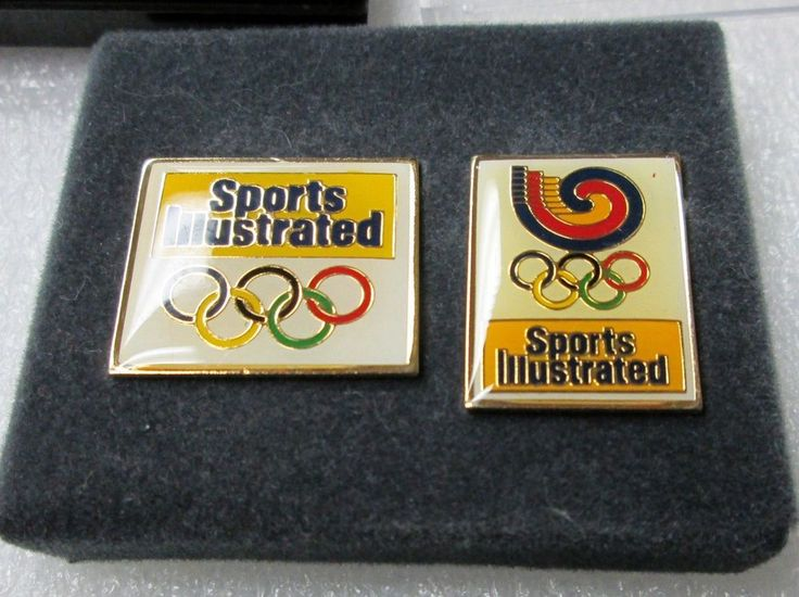 TWO 1988 SPORTS ILLUSTRSATED OLYMPIC PINS IN ORIGINAL CASE! HAT, LAPEL,TIE PINS