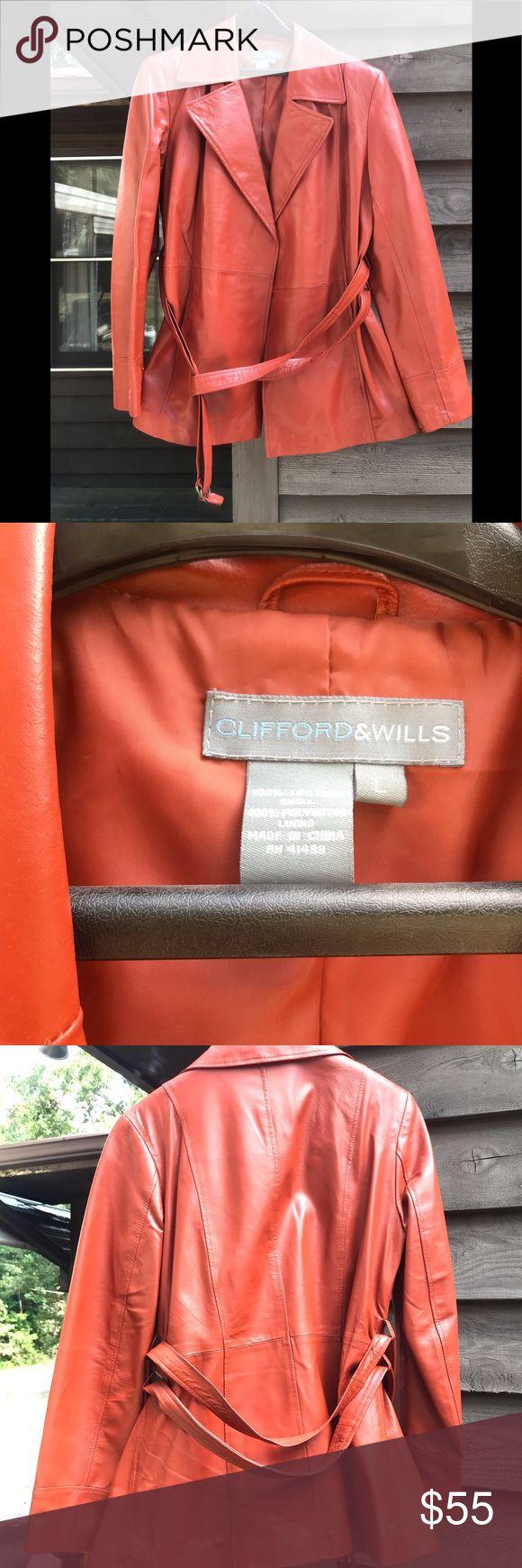 Orange Leather Jacket Beautiful genuine leather jacket in