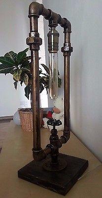Промышленные железные трубы настольная лампа с винтаж стимпанк клапан выключатель света